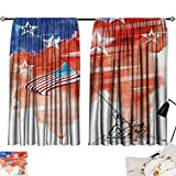 Jinguizi 4th of July Room/Bedroom, Watercolor Artwork of a Historical Scene Soldiers Planting The American Flag Pattern Darkening Curtains Multicolor W55 x L39