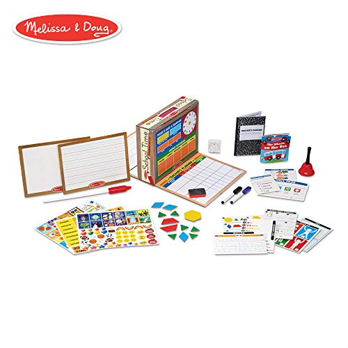 Melissa & Doug School Time! Classroom Play Set (Role-Play Center, Reusable Double-Sided Boards, Easy Storage Box, 150+ Pieces, 13.5