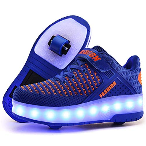 MOREMOO Kids Boys Girls High-Top Shoes LED Light Up Sneakers Single Wheel Double Wheel Roller Skate Shoes(B-Double/Blue-4.5 M US) -