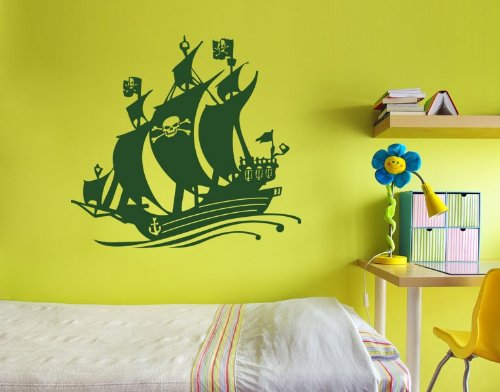 Black Bart Pirate Ship Wall Decal by Style & Apply - Wall Sticker, Vinyl Wall Art, Home Decor, Wall Mural - 3729 - Gold, 47in x 44in