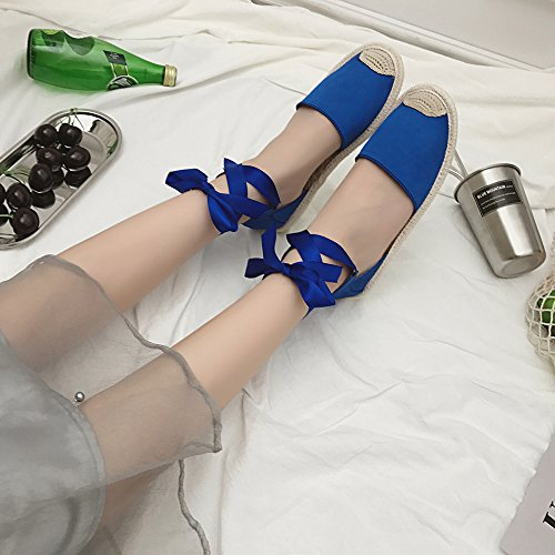 Shoes Flat Lace Espadrilles Summer Strap TM Blue DEESEE Holiday Sandals Up Womens Ankle wEPnB