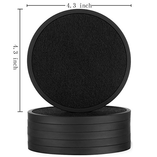 Silicone Drink Coasters with Absorbent Soft Felt Insert - 6Packs, Unique Two in One Coaster Set,Black by MECOWON