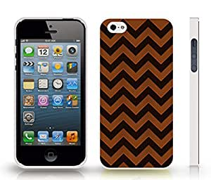 iStar Cases? iPhone 4 Case with Chevron Pattern Brown/ Black Stripe , Snap-on Cover, Hard Carrying Case (White)