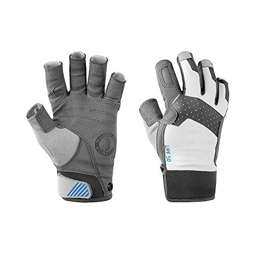 Mustang Survival Traction Open Finger Gloves - Large Light Gray/Blue MA6002-L