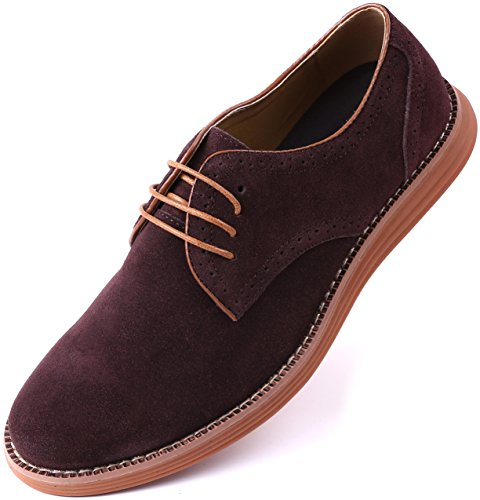 Marino Suede Oxford Dress Shoes for Men - Business Casual Shoes (Hickory   - 8.5 D(M) ()