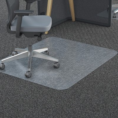Deflecto Polycarbonate EconoMat, Clear Chair Mat, All Carpet Types Use, Rectangle, Straight Edge, 45