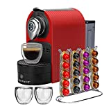 ChefWave Espresso Machine for Nespresso Compatible Capsule, Holder, Cups (Red)