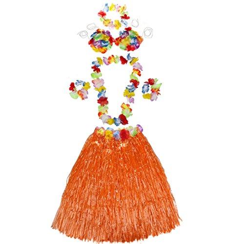 (Adult Hula Kit - 6 Pc Set Includes 23 inch Long Hula Skirt, Bra,2 Flower Lei and 2 Lei Bracelets (orange))