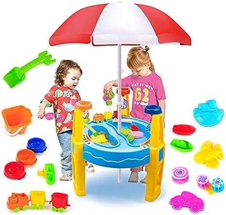 Mesa para Niños con Arena Y Sombrilla, Sombrilla Y Juego De Playa, para Niños Pequeños, Juguetes Educativos para Niños: Amazon.es: Deportes y aire libre