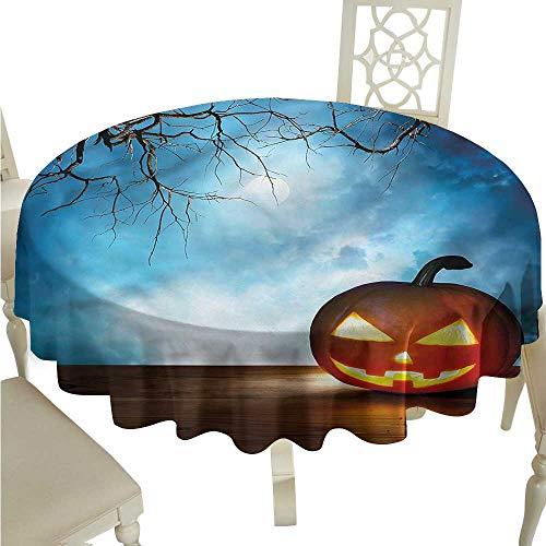 (ScottDecor Wrinkle Free Tablecloths Halloween,Celebration Icon Pumpkin Dinning Tabletop Decoration Round Tablecloth D)