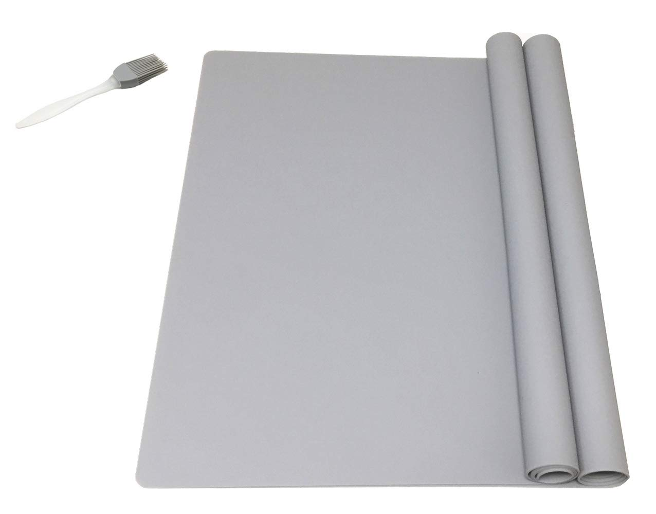 EPHome 2Pack Extra Large Multipurpose Silicone Nonstick Pastry Mat, Heat Resistant Nonskid Counter Mat, Table Mat, 23.6''15.75'' (Gray) by EPHome