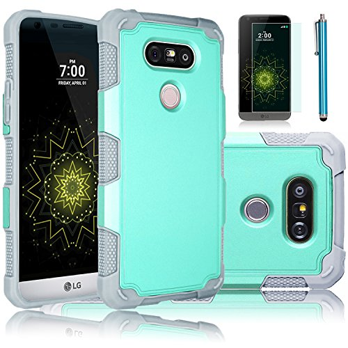 LG G5 Case, EC™ Hybrid Dual Layer Hard PC Shell + Rugged Soft TPU Bumper Shockproof Case Cover for LG G5 (Turquoise+Grey)