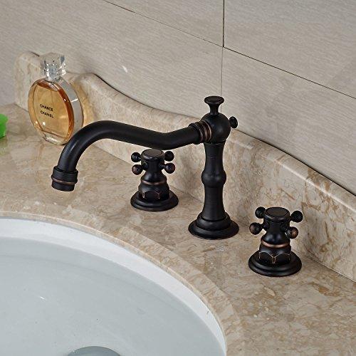 Rozin Widespread 3 Holes Bathroom Sink Faucet Dual Cross Knobs Mixer Tap Oil Rubbed Bronze