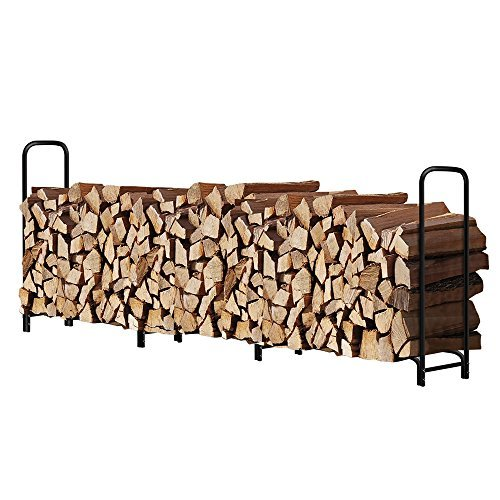 Amagabeli 12ft Outdoor Firewood Log Rack for Fireplace Heavy Duty Wood Stacking Holder for Patio Deck Metal Logs Storage Stand Steel Tubular Wood Pile Racks Outside Fire place Tools Accessories Black