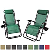 Sunnydaze Forest Green Outdoor Zero Gravity Lounge Chair with Pillow and Cup Holder, Set of Two For Sale