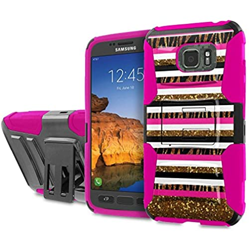 AT&T [Galaxy S7 Active] [5.2 Screen] Armor Case [SlickCandy] [Black/ Hot Pink] Heavy Duty Defender [Holster] [Kick Stand] Phone Case - [Chevron Zebra] for Sales