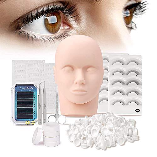 11Pcs False Eyelashes Extension Practice Exercise Set, Professional Flat Mannequin Head Lip Makeup Eyelash Grafting Training Tool Kit for Makeup Practice Eye Lashes Graft from mcwdoit