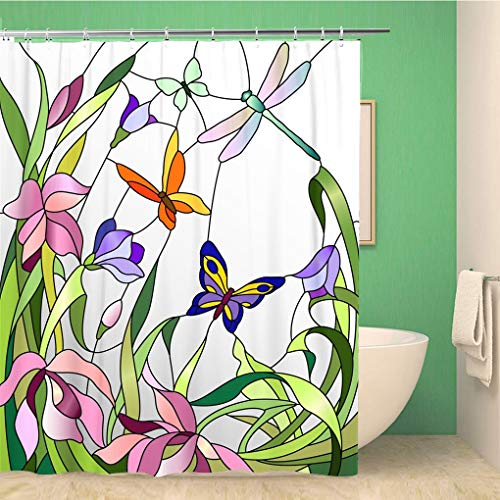 Awowee Bathroom Shower Curtain Colorful Mosaic Stained Glass Window Flowers and Butterflies Floral Polyester Fabric 72x78 inches Waterproof Bath Curtain Set with Hooks ()