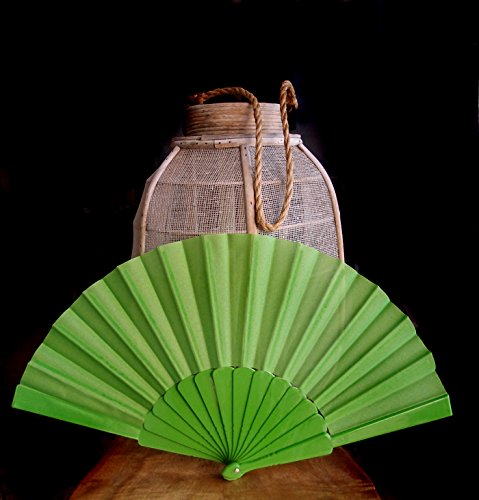 quasimoon-9-light-lime-green-nylon-hand-fans-for-weddings-10-pack-by-paperlanternstore