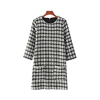 Dahanyi Hot Selling Women Vintage Tweed Plaid Dress Pockets Three Quarter Sleeve Thick Warm Retro Casual
