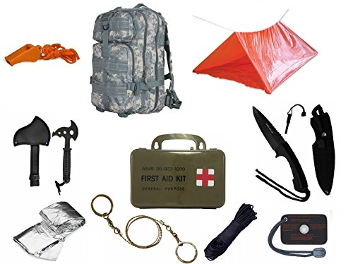 Ultimate Arms Gear Level 3 Assault MOLLE ACU Digital Backpack Kit; Signal Mirror, Polarshield Blanket, Knife Fire Starter, Wire Saw, Axe, 50' Foot Paracord, Camping Tube Tent, Whistle & First Aid Kit by Ultimate Arms Gear