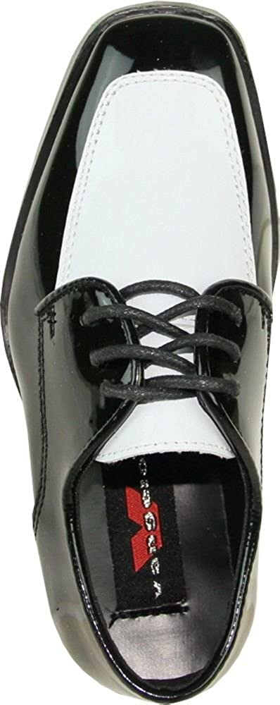 Bravo Vangelo Mens Tuxedo Shoes Tux-3 Wrinkle Free Dress Shoes Formal Oxford Black /& White Patent