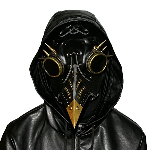 SaiDeng Halloween Party Mask Plague Doctor Cosplay Props Steampunk PU Leather Mask (Black3)