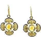 Citrine Cabochon Cross Earrings, 14k Yellow Gold