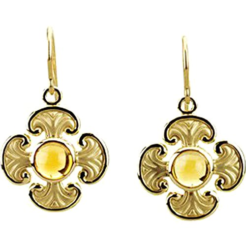 Citrine Cabochon Cross Earrings, 14k Yellow Gold by The Men's Jewelry Store (for HER)