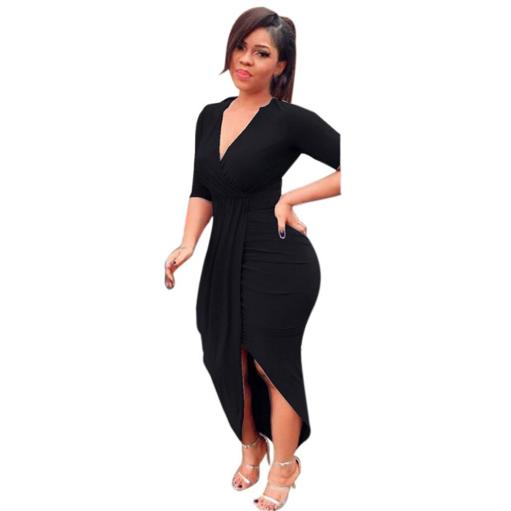 Kimloog Wrap Dress, Women V Neck 3/4 Sleeve Ruched Bodycon Long Maxi Dresses Split Front Sheath Sundress (XL, Black) by Kimloog