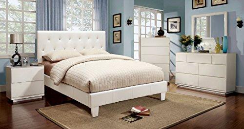Furniture of America Clarrisse Leatherette Platform Bed, Eastern King, White