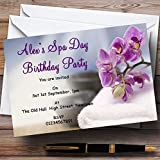 Purple Spa Day Theme Personalized Birthday Party Invitations