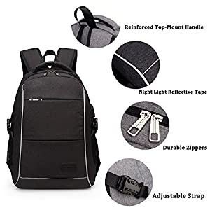 Laptop Backpack, WInblo 15.6 Inch College Backpack with USB Charging Port & Headphone interface Business Laptop Backpack Light Weight Travel Backpack for Men Women (Black)