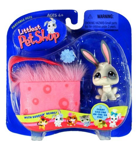 Hasbro Year 2004 Littlest Pet Shop Portable Pets Series Collectible Bobble Head Pet Figure Set - White Bunny Rabbit with Grey Spot Plus Flower Clip, Water Bottle and Fluffy Pink Cozy Carrier Bag (50149) ()
