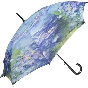 MONET Water Lilies Lg. STICK UMBRELLA auto release