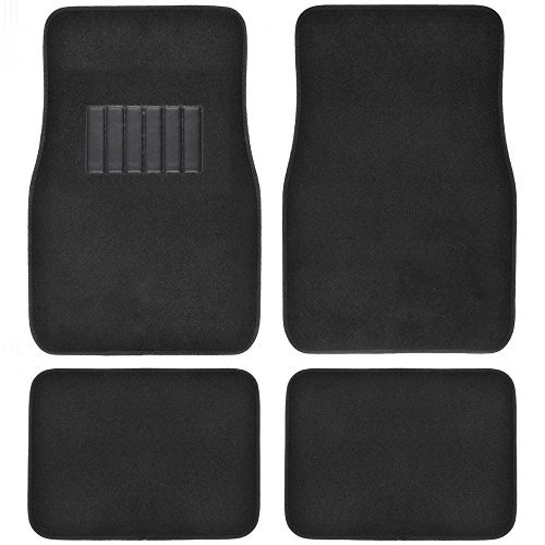 BDK Classic Carpet Floor Mats for Car & Auto - Universal Fit -Front & Rear with Heelpad (Black) University Front Car Mat