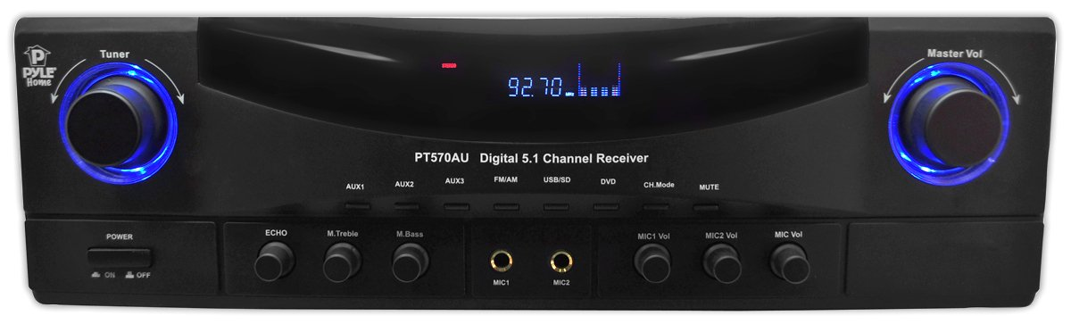 Pyle PT570AU 5.1-Channel Amplifier Receiver 350 Watts AM/FM Radio by Pyle