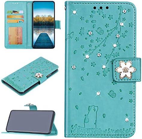 Urhause Beschermhoes compatibel met Samsung Galaxy S8 Plus kat Sakurapatroon diamanten strass relif PUleer portemonnee klapdeksel magneethouder kaartvak groen