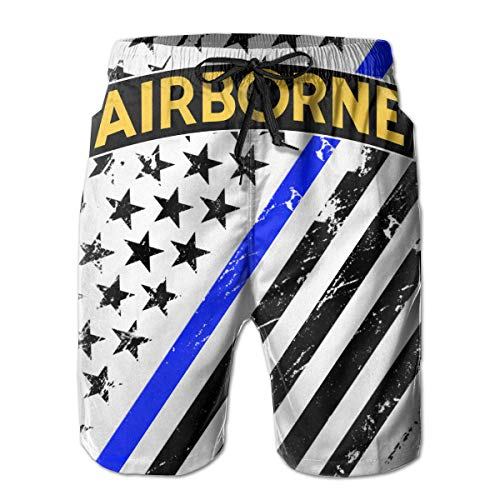 (ThreeAlclo Airborne Special Forces Insignia Summer Swim Trunks 3D Print Beach Board Shorts for Men)