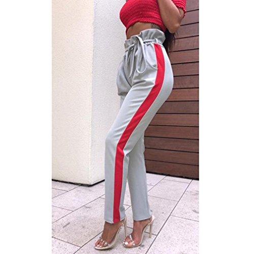 zahuihuiM Stripe Taille Paperbag Parti Haute Printemps Cigaratte Pantalon Gris Pantalon Womens Automne Dames Blet vTScrpvB