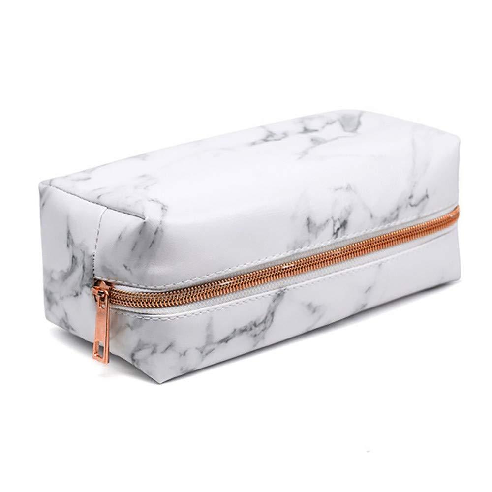 LiPing Marble Molding Pencil Bag Pocket Protector Storage Holder Bag Pen Cases Simple Stationery Bag For Student School (Rose gold zipper)