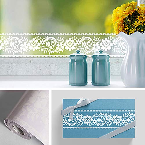 Livelynine Transparent Flower Wallpaper Border for Window Decor Floral Wall Borders Peel and Stick Lace Wall Decals for Bathroom Decor Shop Display Window Decals 4in x32.8 ft ()