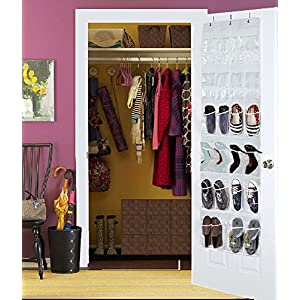 "Hoople Over The Door Hanging Shoe Organizer Storage Rack Closet Plastic Men Women Kids Baby Large Best Heavy Duty, 24 Clear Pockets (64.2"" x 18.9"") (white)"