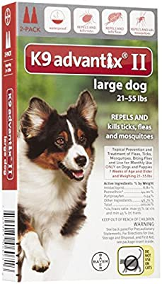 Bayer K9 Advantix II for Large Dogs 21-55lb (2-Month Supply)