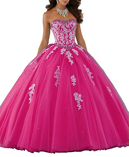 Eldecey Women's Lace Applique Princess Ball Gown Homecoming Formal Prom Strapless Quinceanera Dress Fushcia US26W