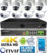 USG H.265 4MP Ultra 4K 8 Camera Security System PoE IP CCTV Kit: 4x 4MP IP PoE 2.8-12mm Lens Dome + 4x 5-50mm Lens Bullet Camera + 1x 5MP 24 Channel NVR + 1x 10 Port PoE Network Switch + 1x 4TB HDD