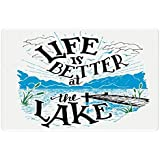 Lunarable Adirondack Pet Mat for Food and Water, Lakeside Cabin Themed Life is Better at The Lake Quote, Rectangle Non-Slip Rubber Mat for Dogs and Cats, Dark Taupe Jade Green Azure Blue