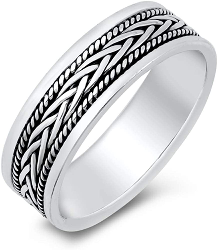 North Arrow Shop Classic Braid Band Sterling Silver 925 Ring with Jewelry Box