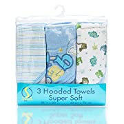 Spasilk Soft Terry Hooded Towel Set, Blue Baby, 3-Count