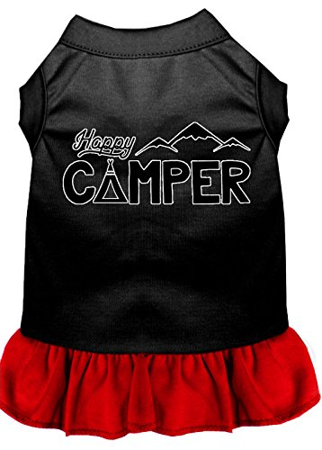 Mirage Pet Products 58-59 BKRDSM Happy Camper Screen Print Dog Dress, Small, Black with Red